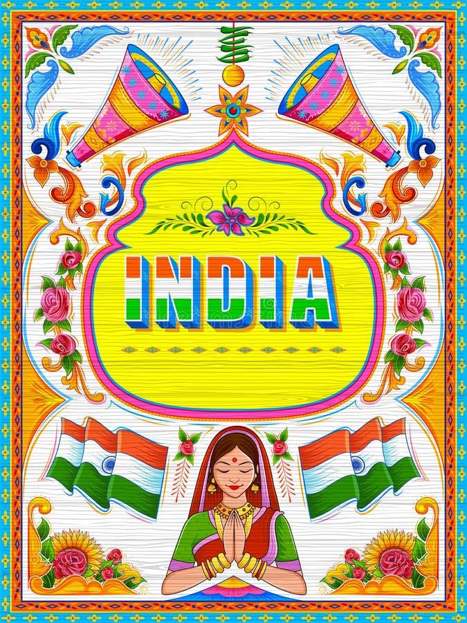 在印度的卡车艺术拙劣的文学作品样式的五颜六色的受欢迎的横幅 向量例证