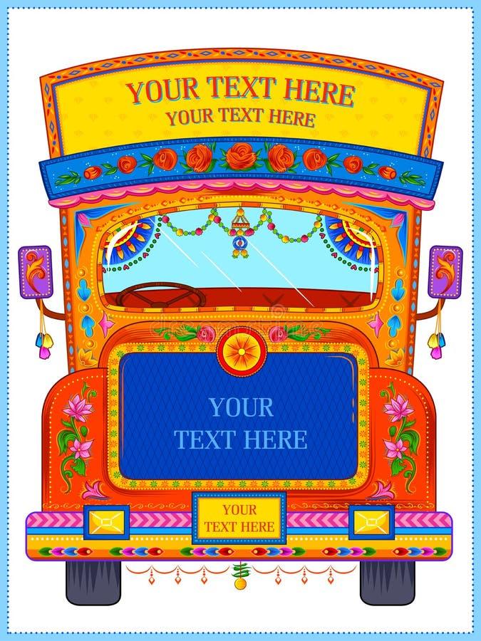 在印度的卡车艺术拙劣的文学作品样式的五颜六色的受欢迎的横幅 库存例证