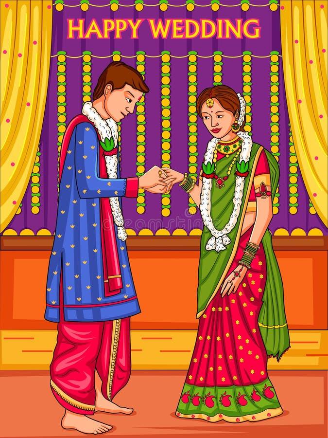 在印度的婚姻的订婚仪式的印度夫妇 向量例证