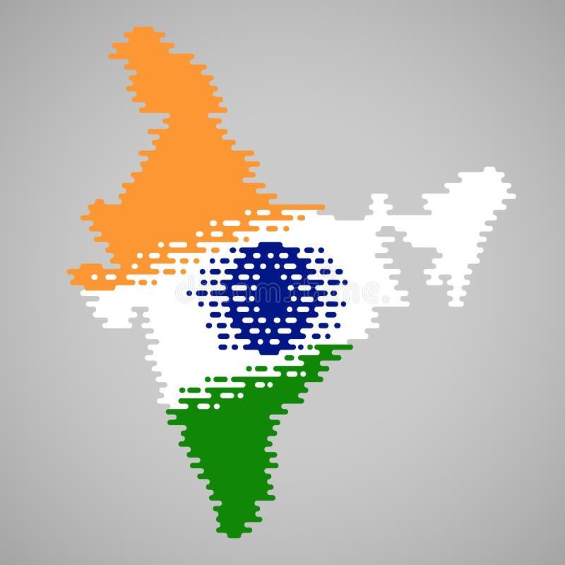 在印度的熔化地图的里面熔化旗子 皇族释放例证