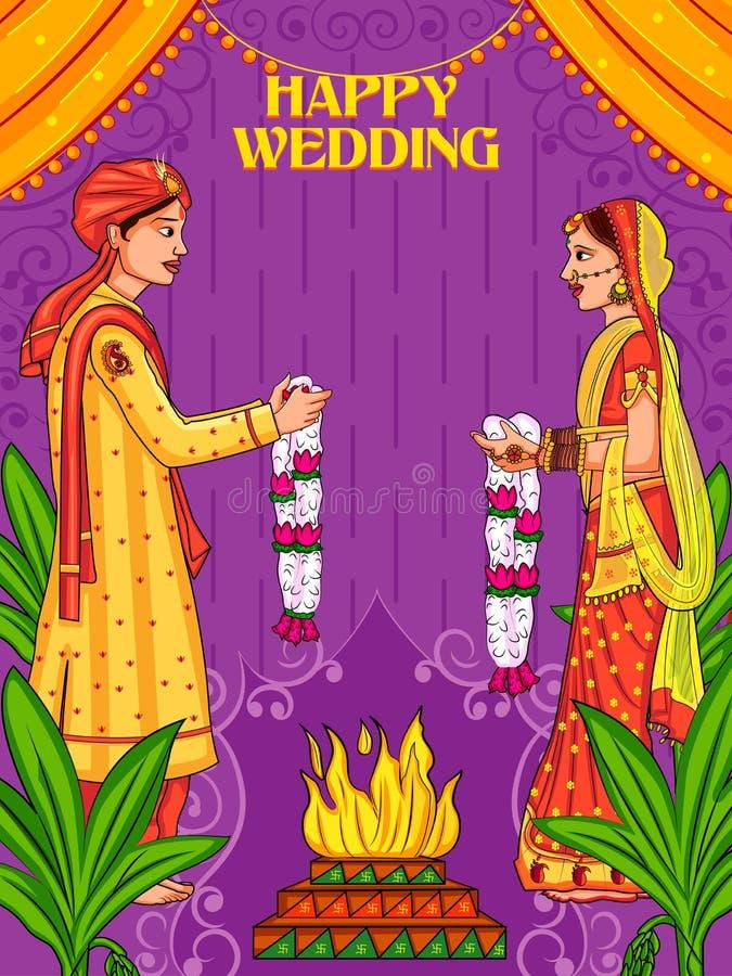 在印度的Jaimal婚礼的印度夫妇 库存例证