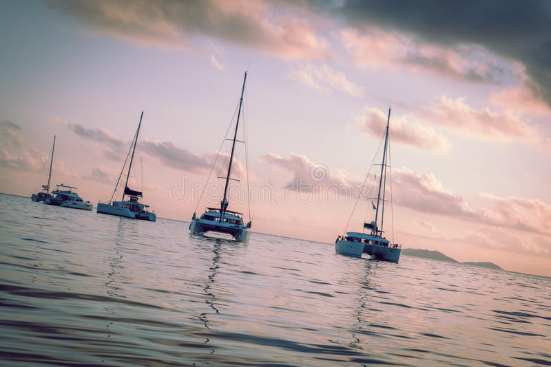 在印度洋的消遣游艇 库存图片