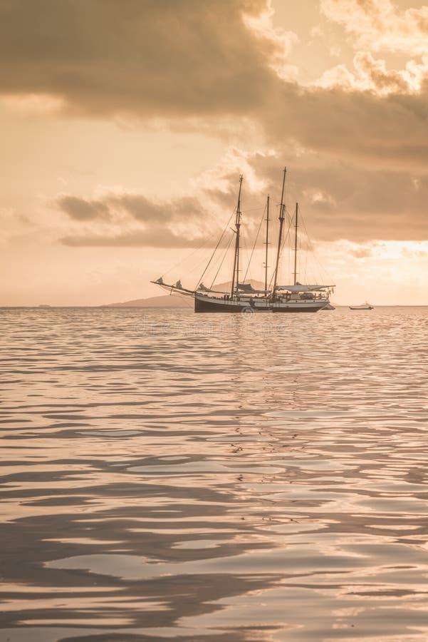 在印度洋的消遣游艇 库存照片