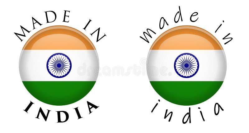 在印度3D按钮标志做的简单 在圈子附近的文本与Ind 皇族释放例证