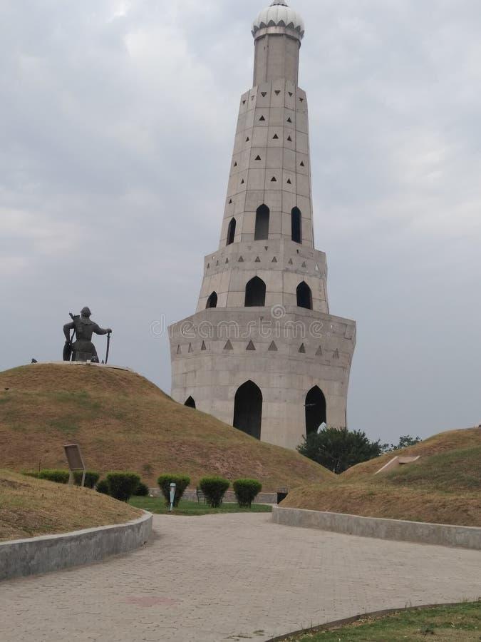 在印度- Fateh burj,旁遮普邦的最高的胜利塔 免版税库存照片