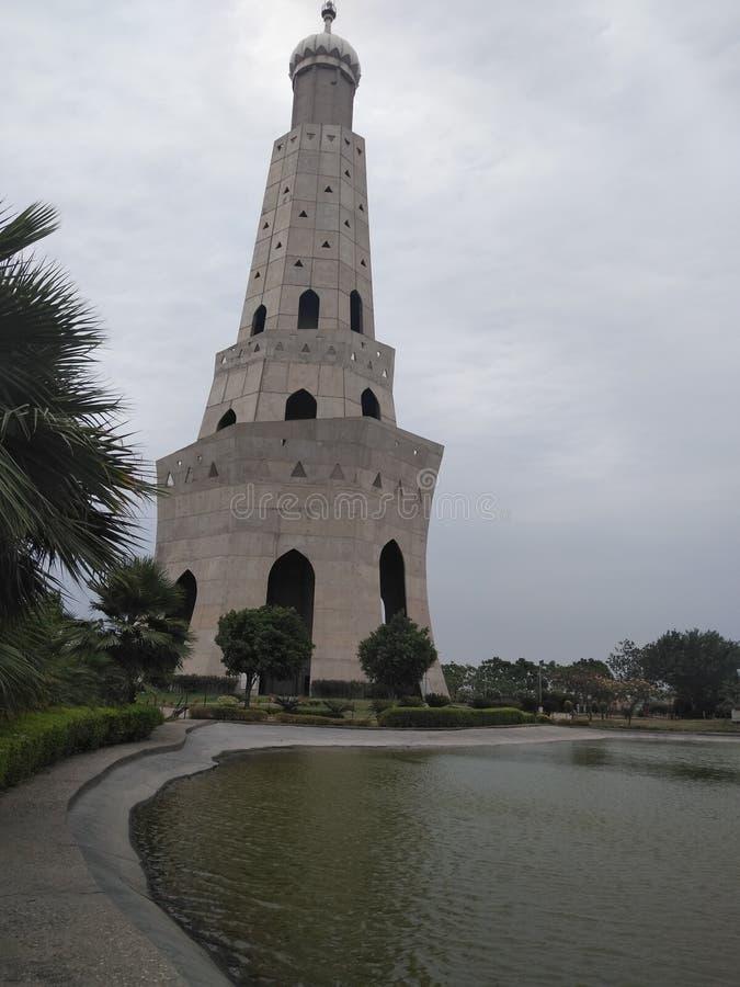 在印度- Fateh burj,旁遮普邦的最高的胜利塔 库存照片