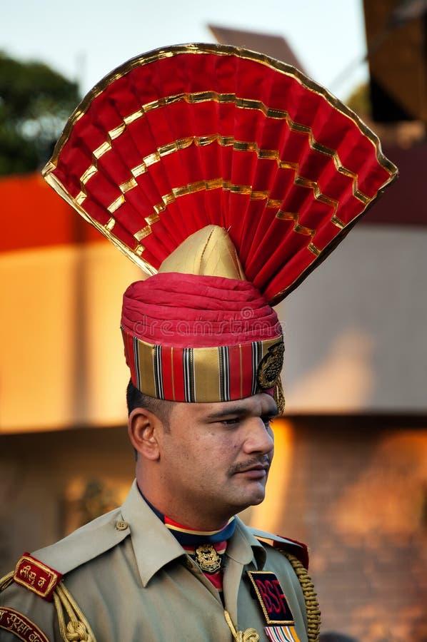 在印巴瓦各赫边界闭幕式的印地安卫兵 库存图片