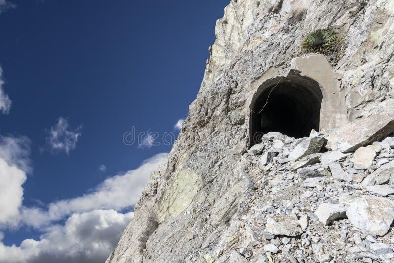 在危险峭壁的矿入口 免版税库存图片