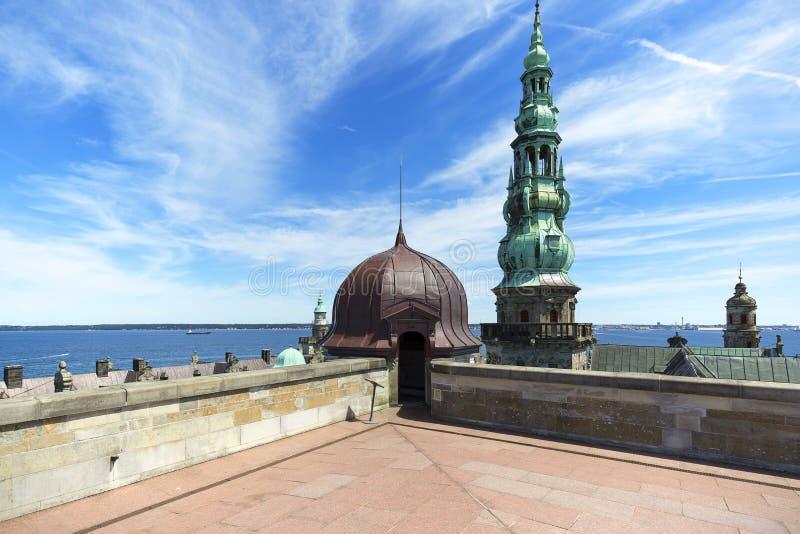 在厄勒海峡海峡的中世纪克伦堡城堡,从塔的看法,赫尔新哥,丹麦 免版税库存照片
