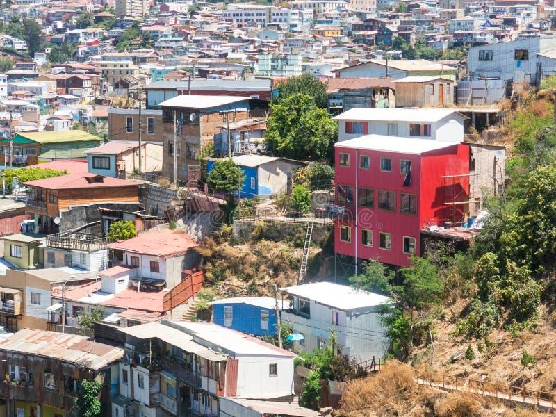 在历史城市瓦尔帕莱索,智利都市风景的看法  库存图片
