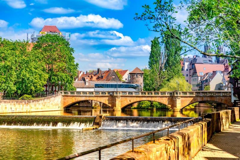 在历史的建筑学的看法在纽伦堡,德国 免版税库存图片