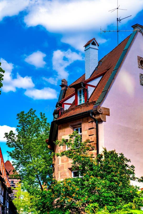 在历史的建筑学的看法在纽伦堡,德国 库存照片