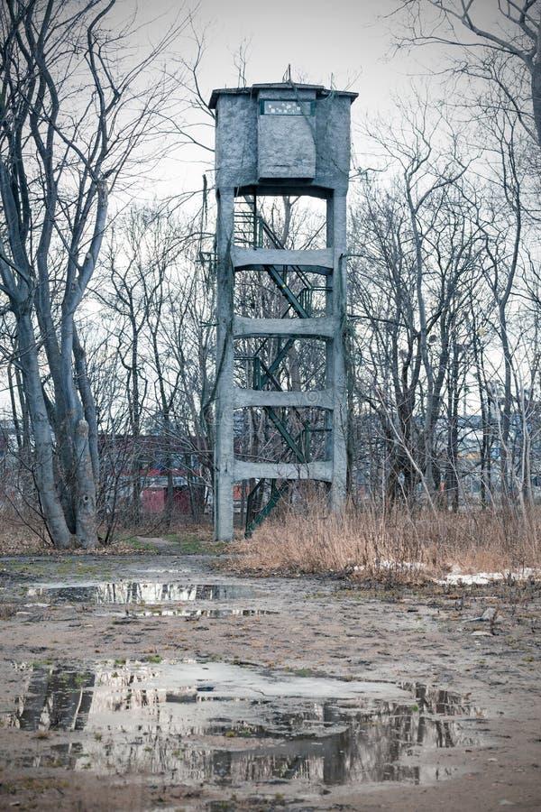在历史的Westerplatte半岛的枪塔 免版税库存照片