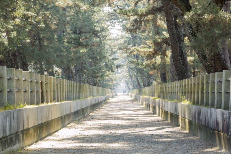 在历史Horyu籍前面的平直的走道 免版税库存照片