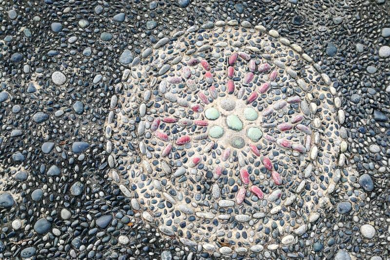 在压力的特写镜头把小卵石石头指向脚反射论pa 免版税图库摄影