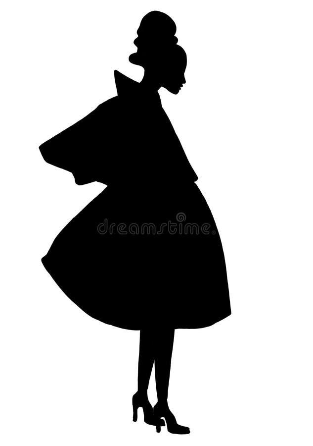 在原始的服装的例证侈奢的时尚女性画象作为剪影 向量例证