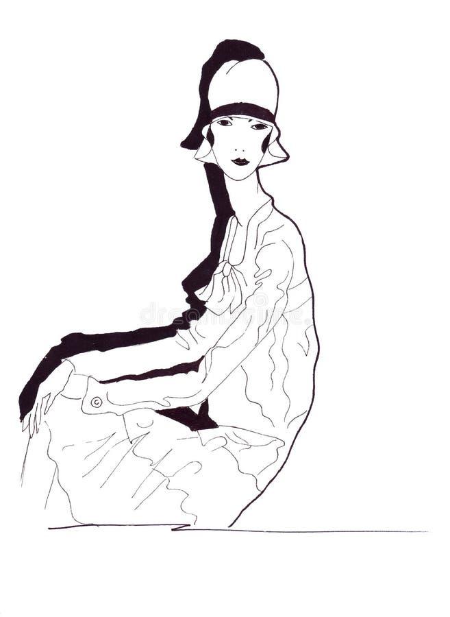 在原始的服装的例证侈奢的时尚女性画象作为剪影 皇族释放例证
