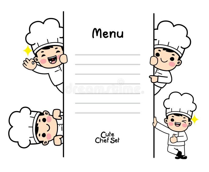在厨师制服设置的字符 Vecter 皇族释放例证