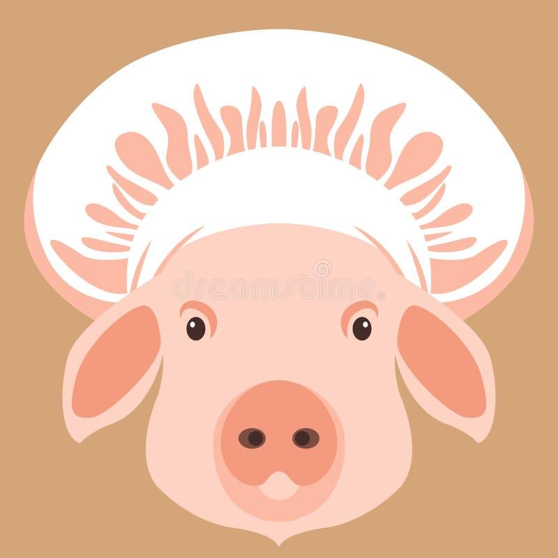 在厨师` s盖帽传染媒介例证平的样式前面的猪面孔 向量例证