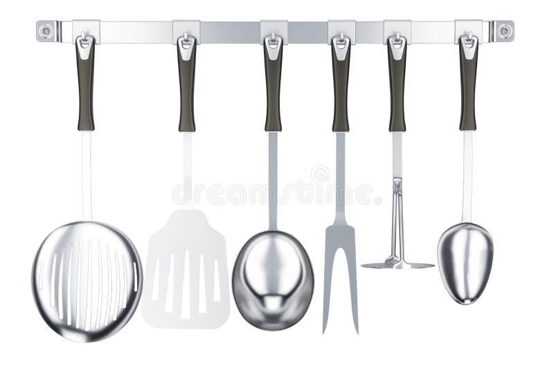 在厨房勾子小条, 3D的各种各样的厨房器物翻译 向量例证