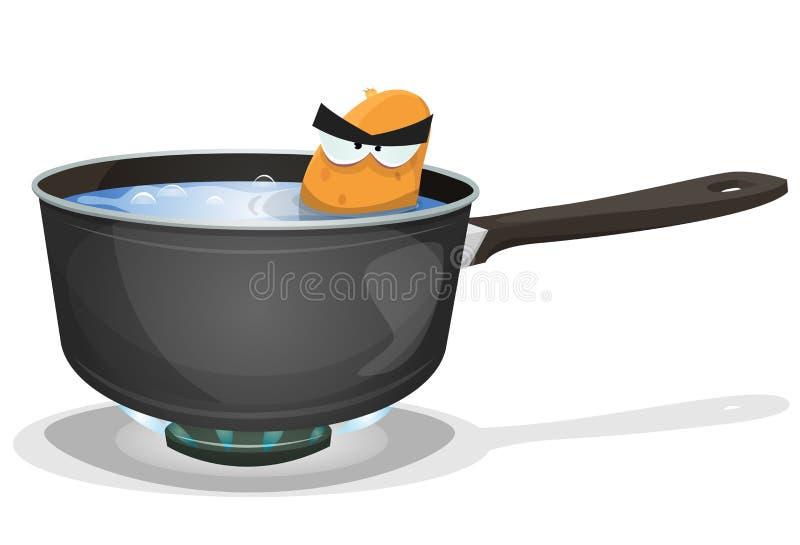 在厨房平底锅里面的煮沸的土豆 向量例证