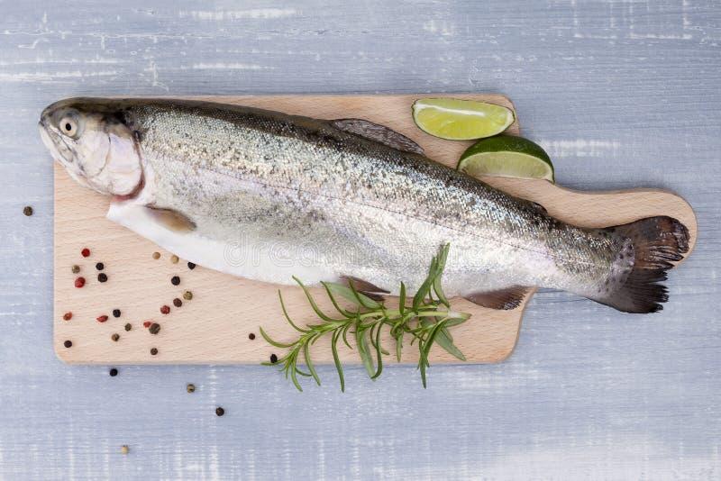 在厨房板的Freh鳟鱼。 库存照片