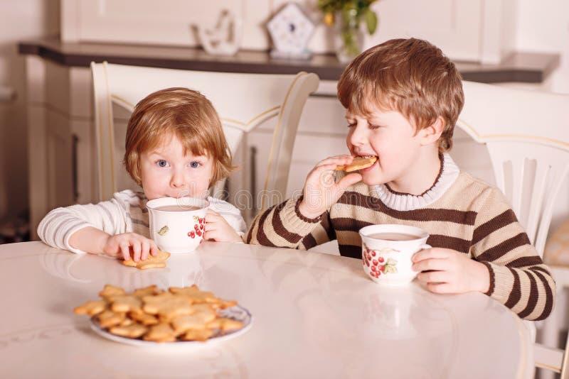 在厨房烹调的两个孩子 图库摄影