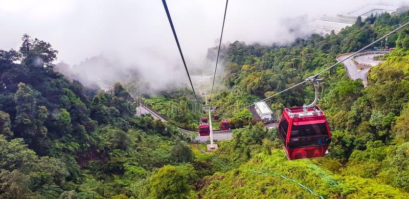 在去下来从genting的高地的索道缆车kualampur 库存图片