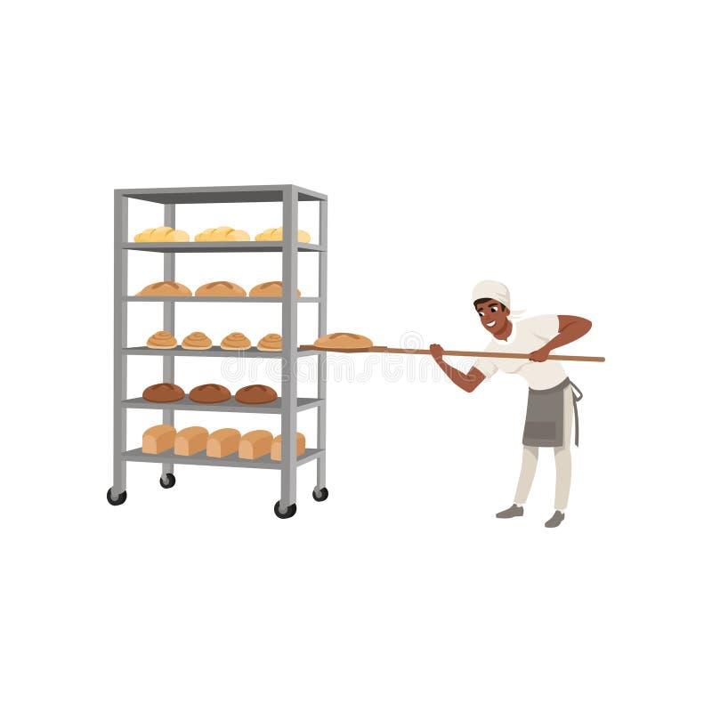 在去掉与铁锹的制服的微笑的非裔美国人的面包师字符新近地烘烤面包折磨传染媒介 向量例证