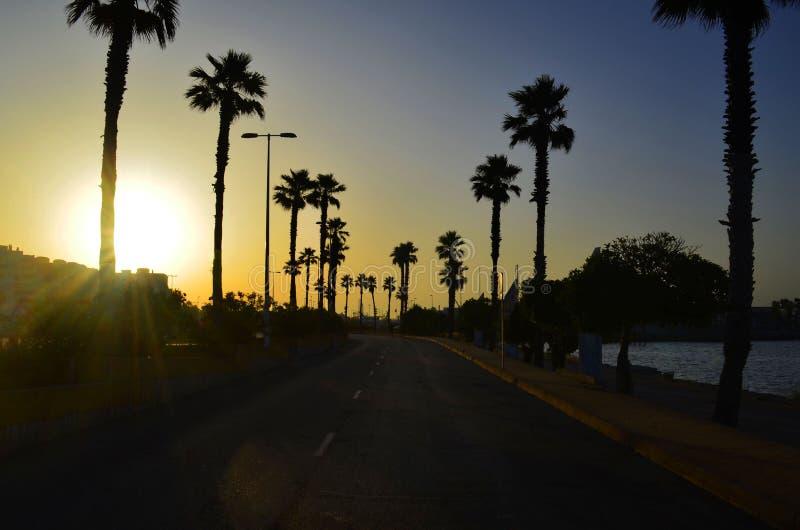 在去的空的路的日出从西班牙向直布罗陀 库存照片