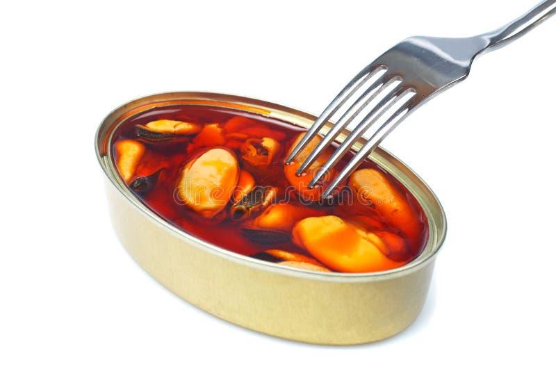 在叉子淡菜之上 图库摄影