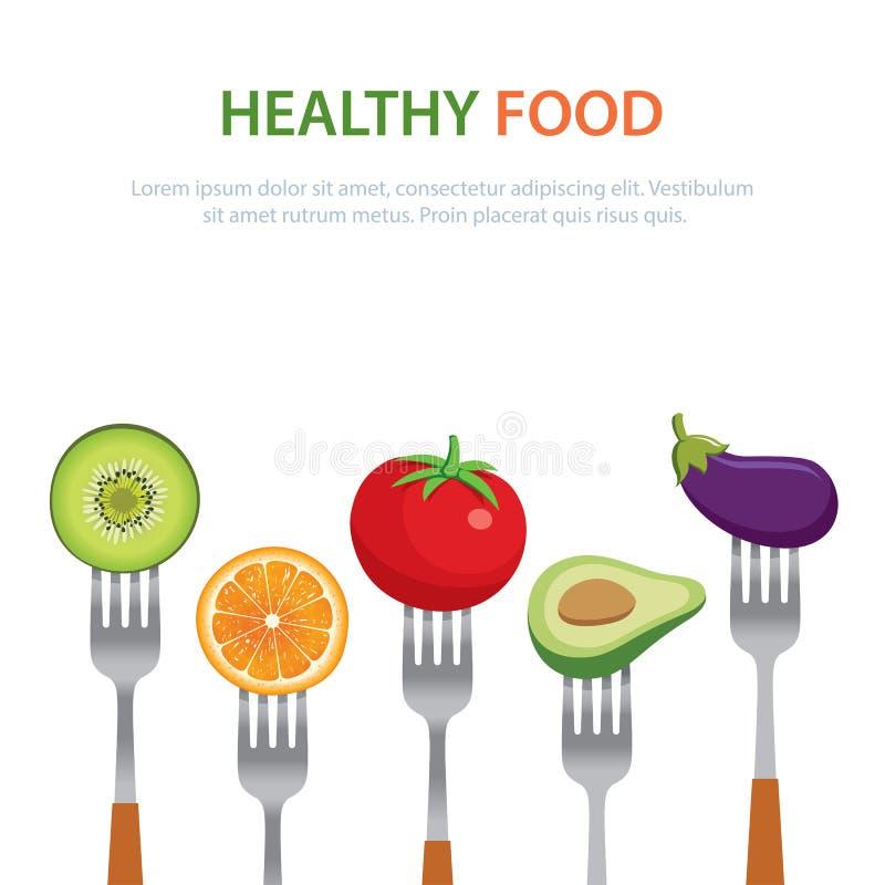 在叉子的健康食物节食概念水果和蔬菜 皇族释放例证