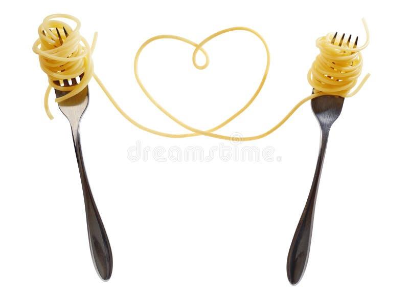 在叉子的意大利面食 免版税库存图片