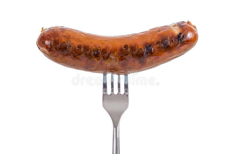 在叉子的香肠 库存图片