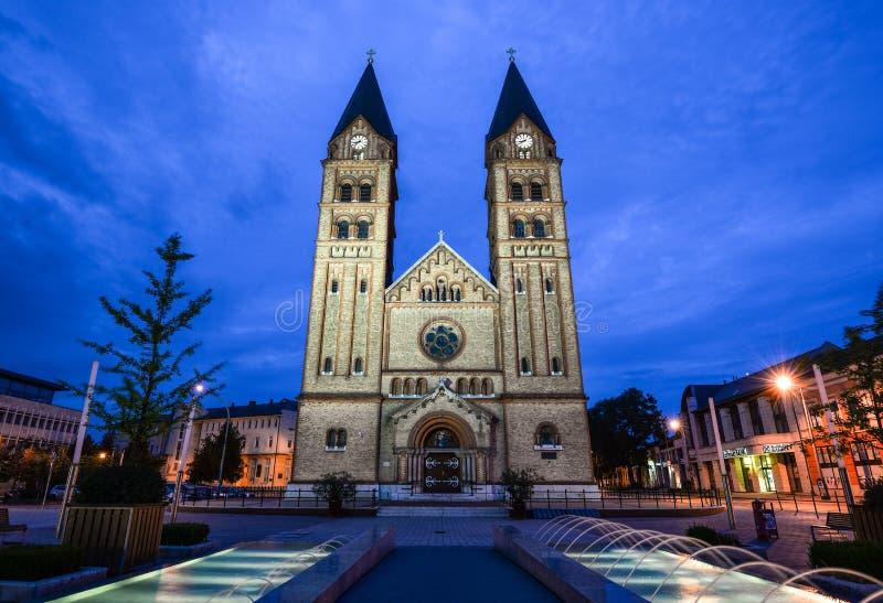 在双塔Nyiregyhà ¡ za ` s天主教堂的夜视图有在前景的最近被修造的喷泉的 免版税库存照片