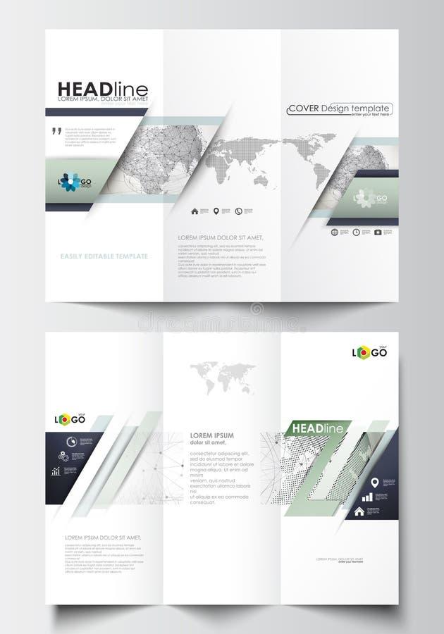 在双方的三部合成的小册子企业模板 在平的设计的容易的编辑可能的布局 库存例证