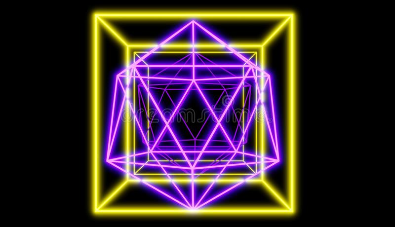 在反射性背景前面的发光的霓虹形状,减速火箭的网络样式回报 皇族释放例证