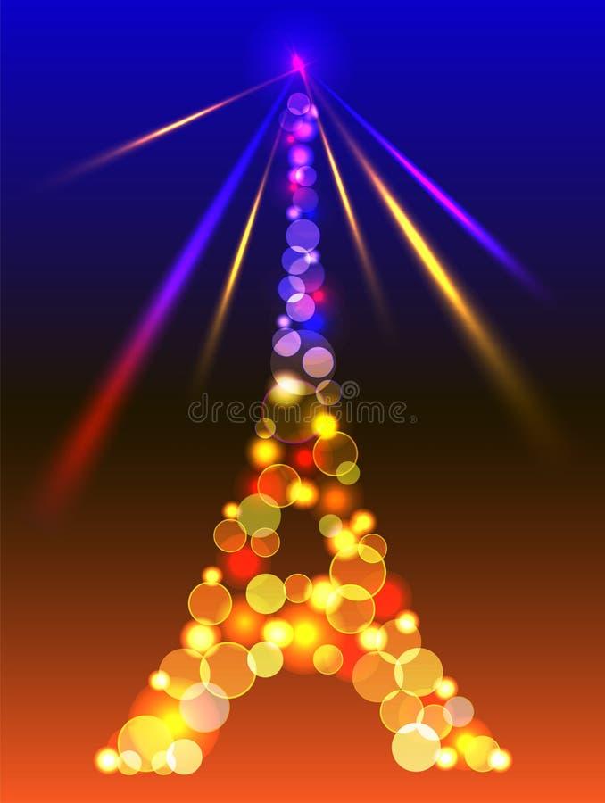 在发光的蓝色和黄灯的埃佛尔铁塔 向量例证