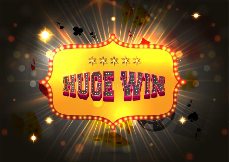 在发光的bokeh背景的大门罩文本巨大的胜利为赌博娱乐场夜 皇族释放例证
