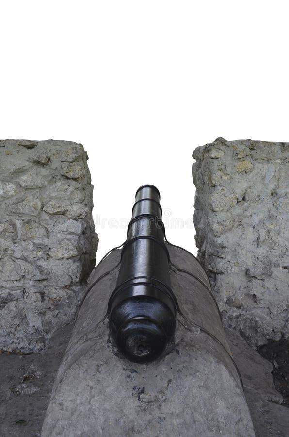 在发射孔的老大炮 查出的背面图白色 库存图片