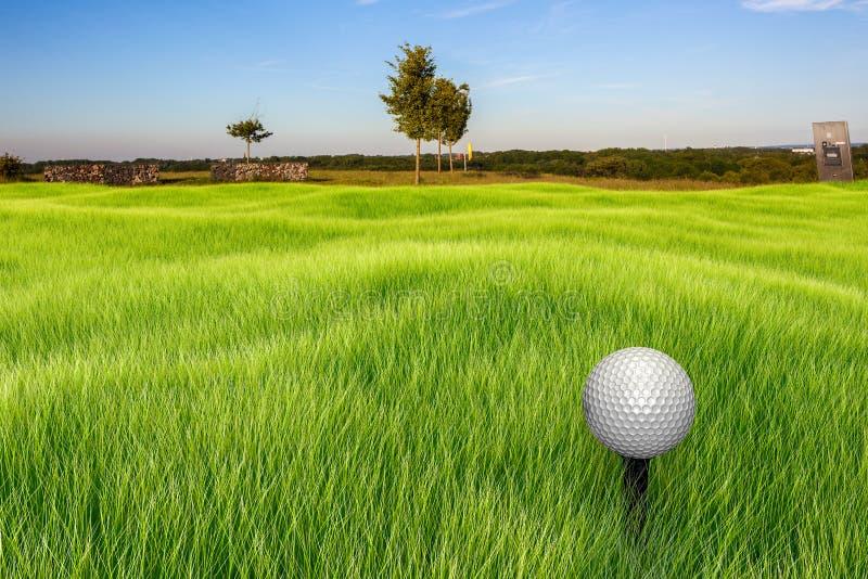 在发球区域的高尔夫球 免版税库存图片