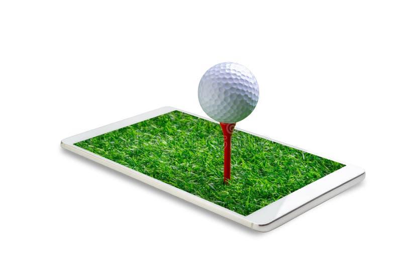 在发球区域钉的高尔夫球在白色背景隔绝的智能手机 免版税库存图片