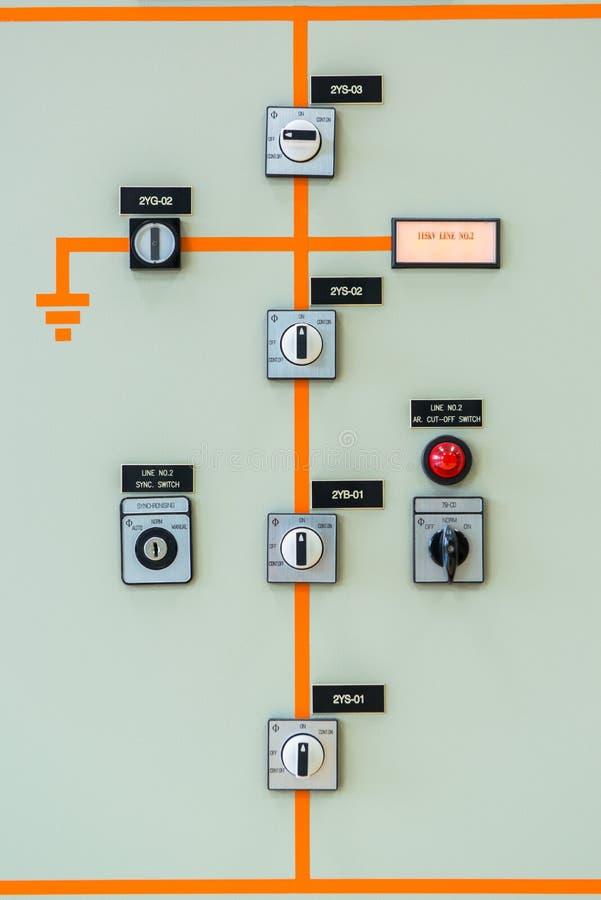 在发电站的控制器开关 免版税库存照片