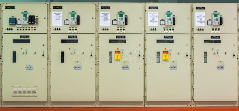 在发电站的电控制器 库存图片