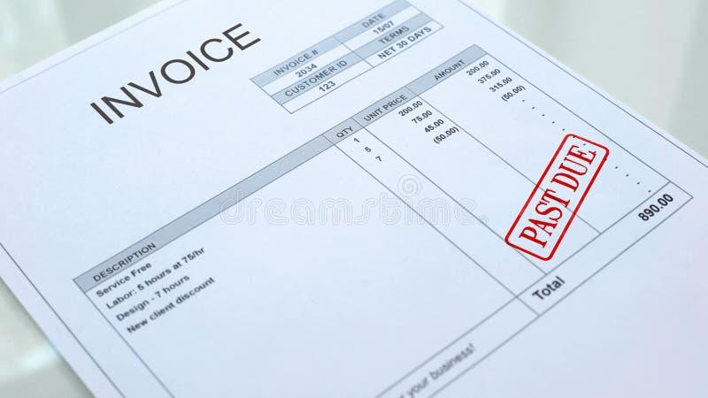 在发货票财政形式盖印的过期封印,商用文件,文书工作 库存照片
