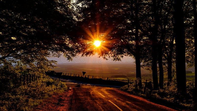 在发酵眉头,北约克郡的太阳落山 库存照片