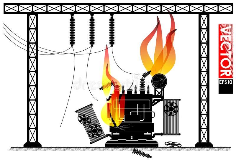 在变压器分站的事故 在变压器的火 动力故障 停电新闻 皇族释放例证