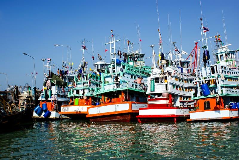 在口岸停泊的几艘钓鱼的船 库存照片