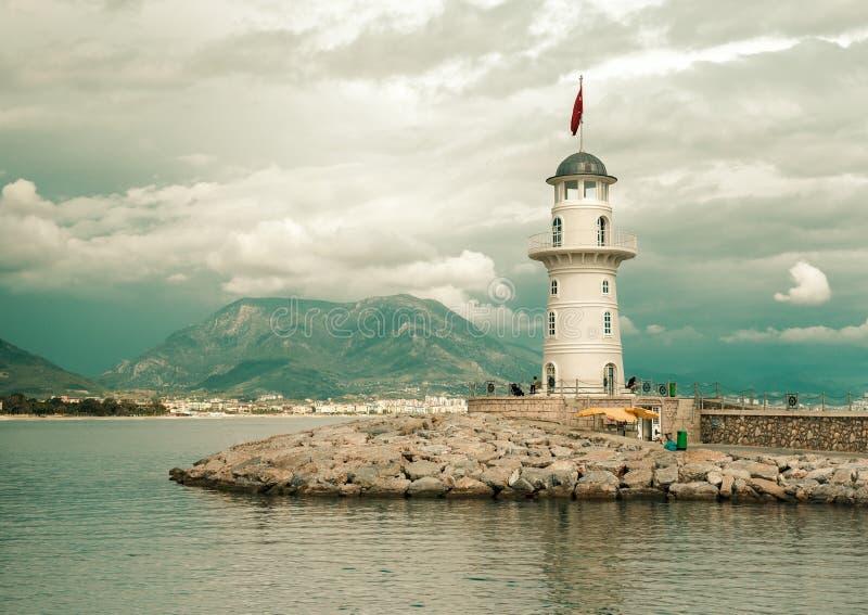 在口岸Alanya,土耳其的灯塔 免版税库存照片