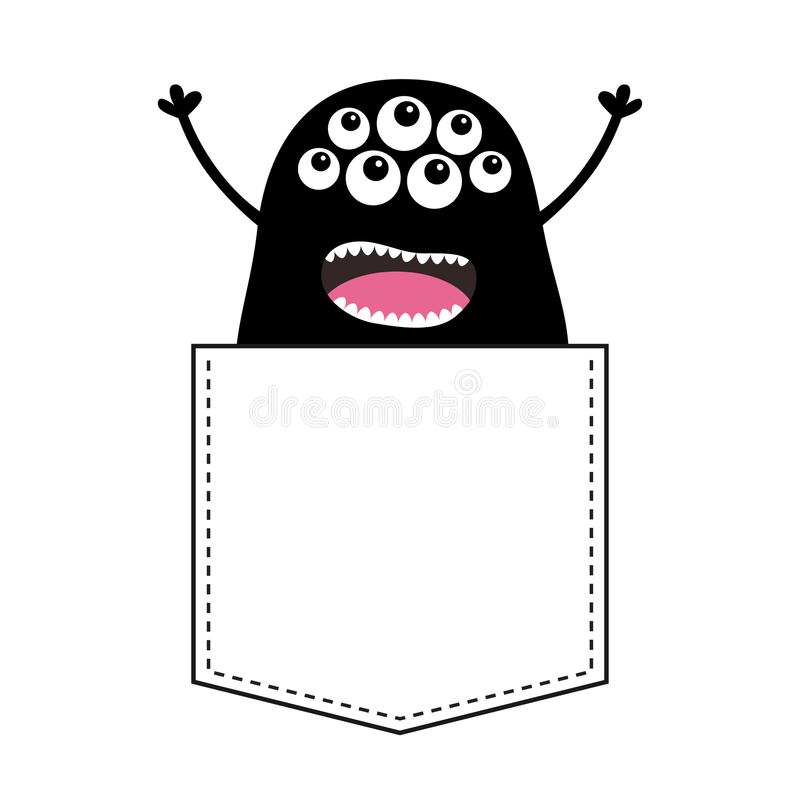 在口袋的黑叫喊的妖怪剪影 举起手来 逗人喜爱的动画片可怕滑稽的字符 婴孩汇集 背景黑色关闭设计蛋炸锅衬衣t e 皇族释放例证